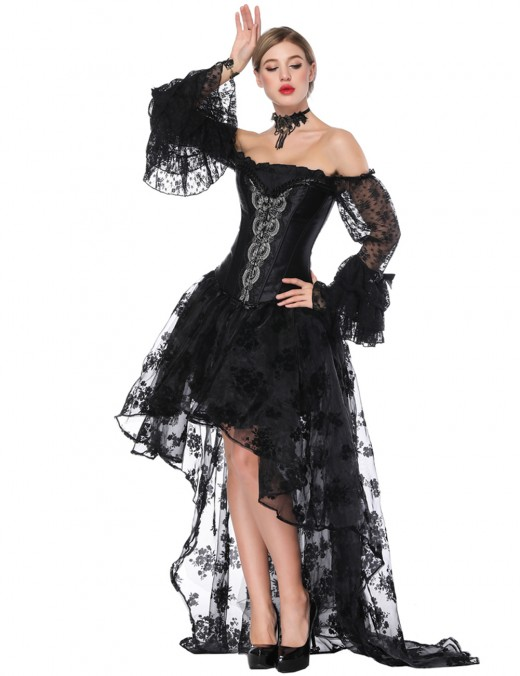 Fashion Black Flounce Off Shoulder Corset Skirt Set Floral Pattern