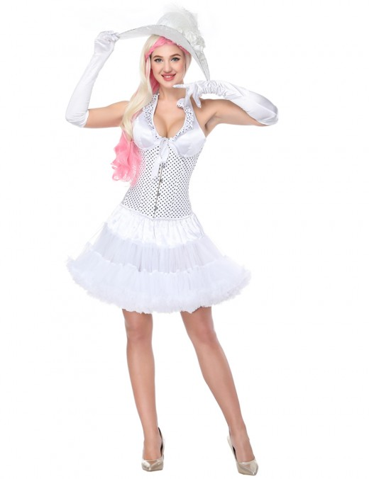 Bandage White Halter Dot Corset With Tutu Set Lace Up Strengthen