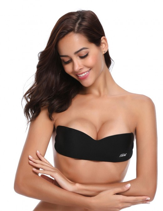 Ultra Sexy Black Silicone Lining Invisible Bra No Strap