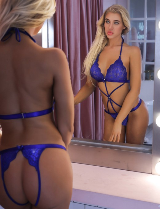 Dark Blue Bodysuit Lace Lingerie Triangle Cup Front Crossover
