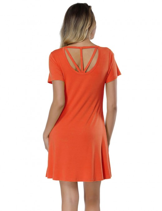 Zealous Orange Back Cut Out Short Sleeve Mini Dress Superior Quality