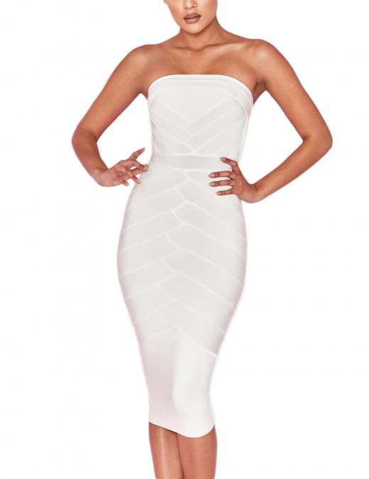 Formal White Strapless Stripe Patchwork Bandage Dress