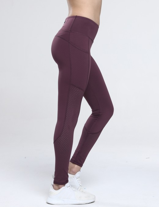 Airhole Zipper Pocket Athletic Wine Red Legging Quality Assured