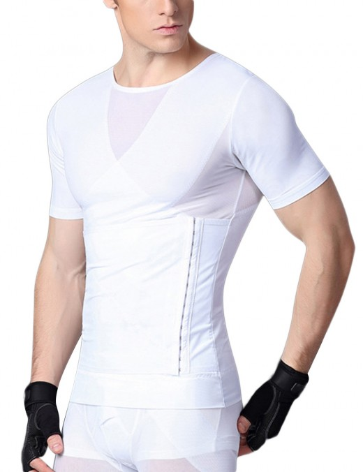 Smooth Silhouette White Strengthen Abdomen Shapewear Male Crossover