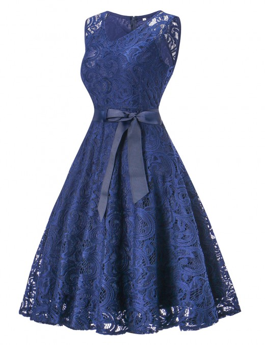 Inviting Navy Blue Pleated Sash Cocktail Dress Queen Size