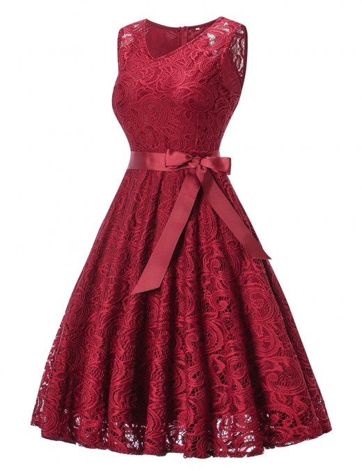 Good-Looking Wine Red Zipper Lace Flare Hem Big Dress No Sleeves