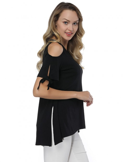 Cold Shoulder Shirts Black Knot Short Sleeves Comfort Fashion