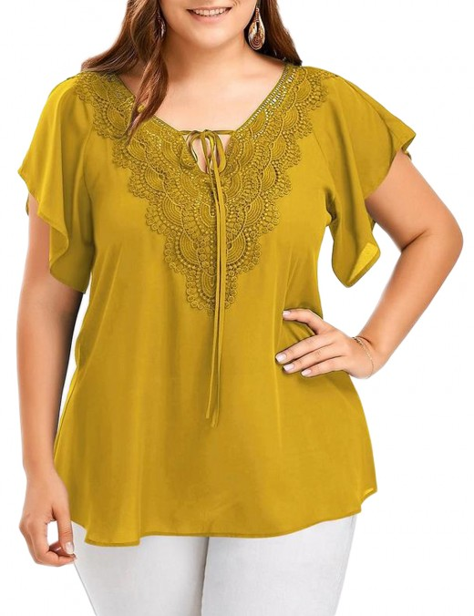 Relaxing Yellow Plus Flare Sleeve T-Shirt Self Tie V Neck