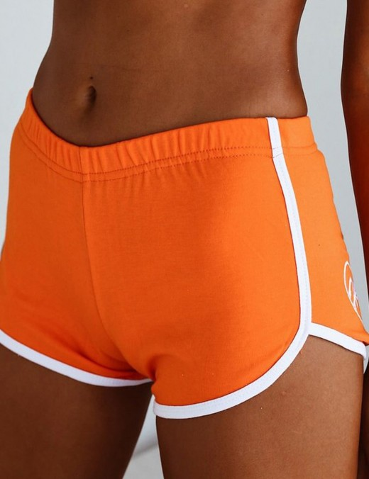 Functional Orange Embroidery Butt Lift Shorts Elastic Waist Women
