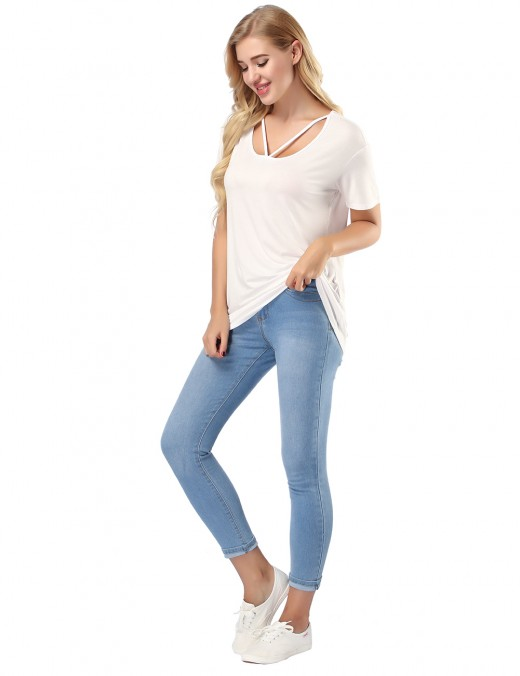 Stunning White Scoop Neck Top High Elasticity Women's Fashion