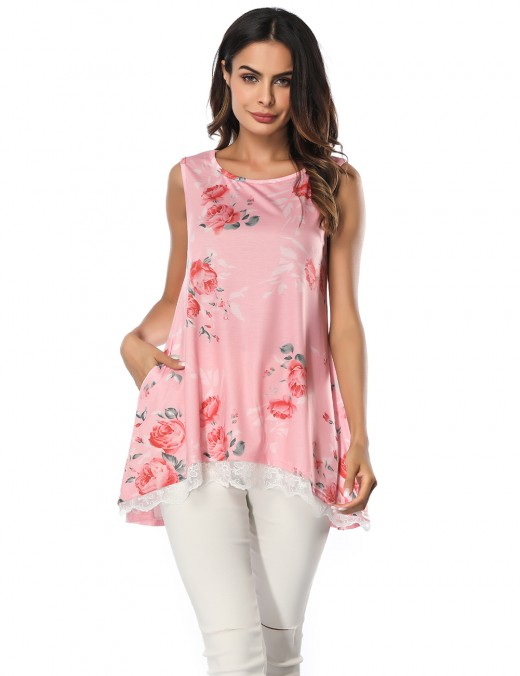 Ingenious Light Pink Lace Patchwork Tops No Sleeves Comfort Fit