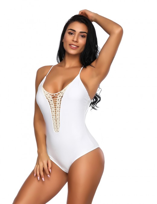 White Lace Stitching Cami Straps Swimsuit Beach Vacation