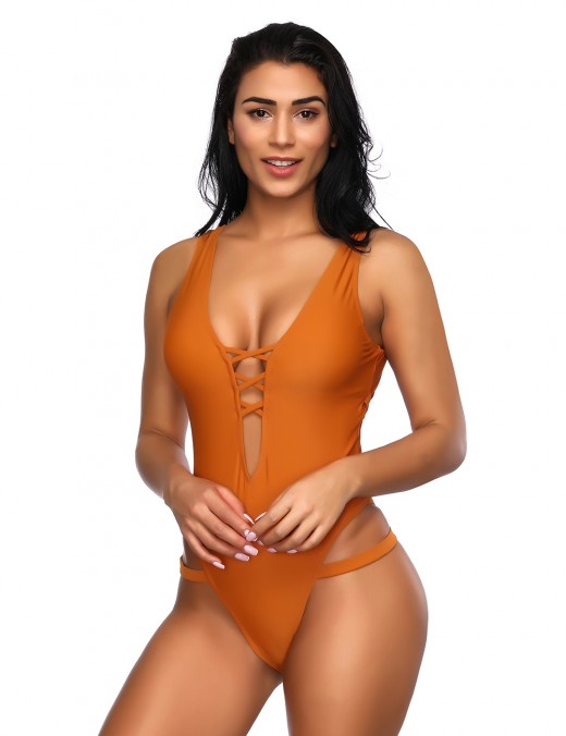 Sultry Orange Cut Out One Piece Bathing Suit Back Belt Best Materials
