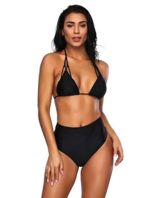 Glossy Black Halter Backless Bikini Spaghetti Straps Unique Fashion