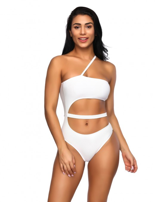 Lovable White U Shape Hollow Out Monokini One Strap