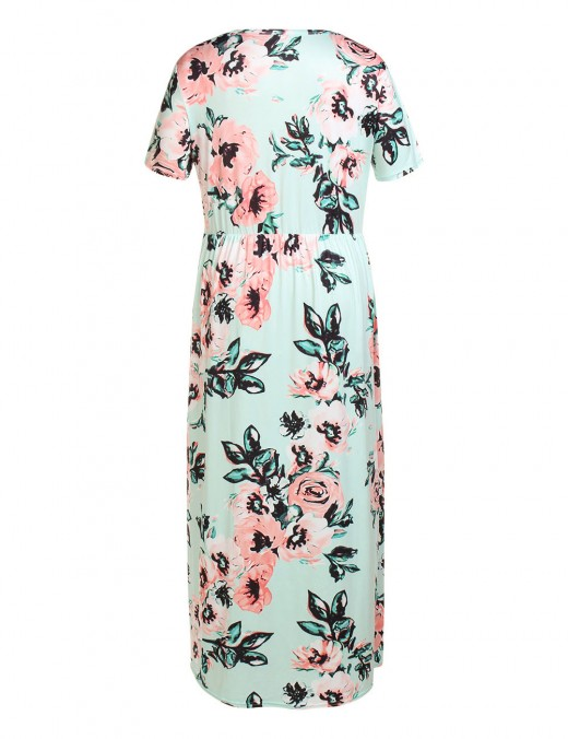 Fashionable Light Green Queen Size Floor Length Dress Floral Print