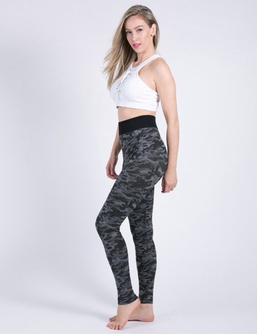 Multi-Function Black Camo Yoga Leggings High Elasticity For Workout