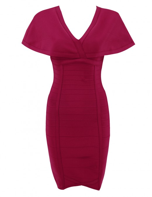 Wine Red Cloak Bandage Dresses Invisible Zipper Quality Assured