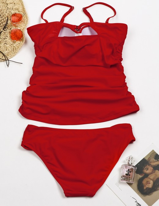 Adorable Red Ruched Large Bathing Suit Cami Straps Form Fit