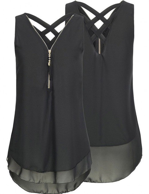 Perfectly Black Zipper Front Big Tank Top Criss Cross Workout