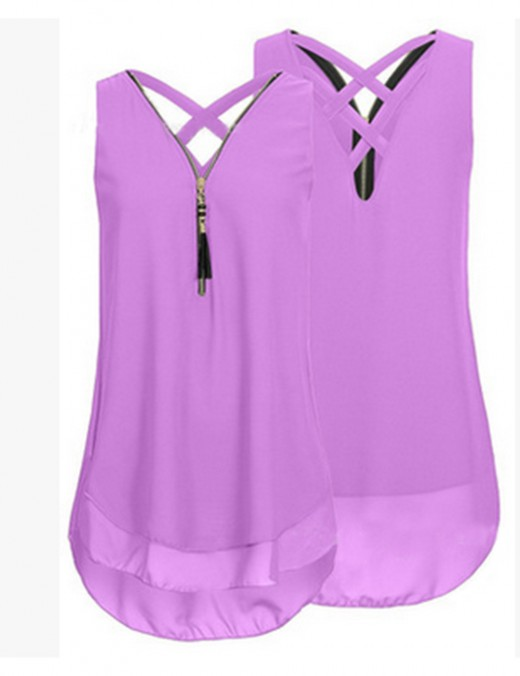 Glossy Purple Cut Out Plus Shirts Sleeveless Versatile Item