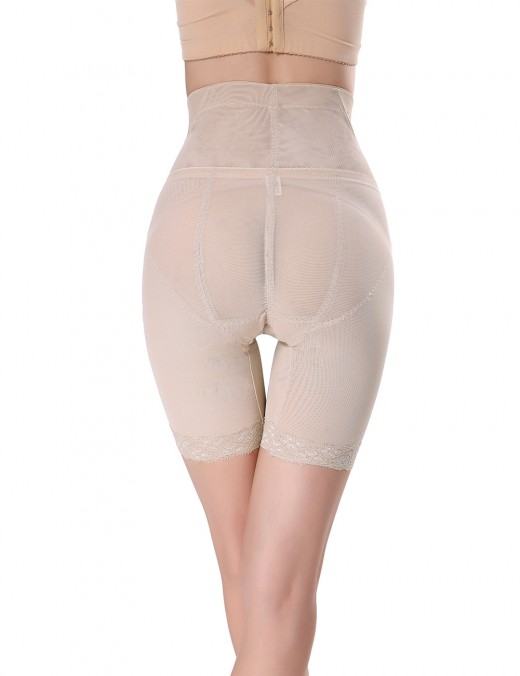 Apricot Mesh High Waisted Big Booty Shaper With Hooks Slim Fit