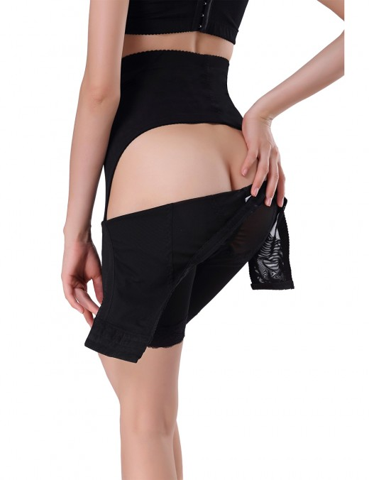 Charming Black Plus Lace Hem Buttock Lifter Hooks And Eyes