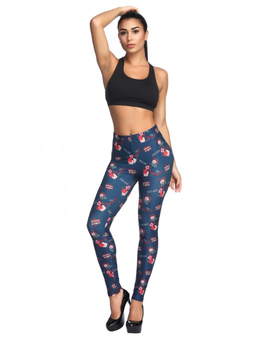 Picturesque Navy Blue Brushed Middle Waist Stretchy Leggings Flower