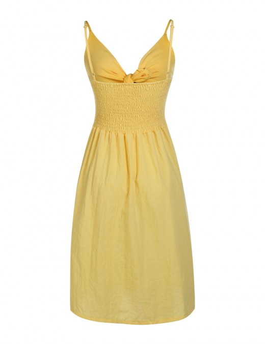 Smooth Yellow Midi Cut Out Dress Cami Straps Women Outfits