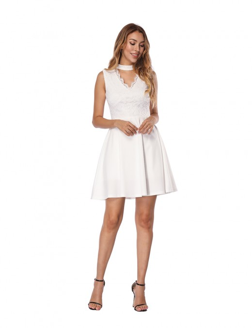 Loose White V Neckline Short Skater Dresses Zipper Back All-Match