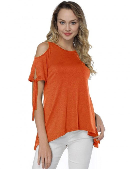 Vivid Orange Cold Shoulder Ruched Blouses Knotted