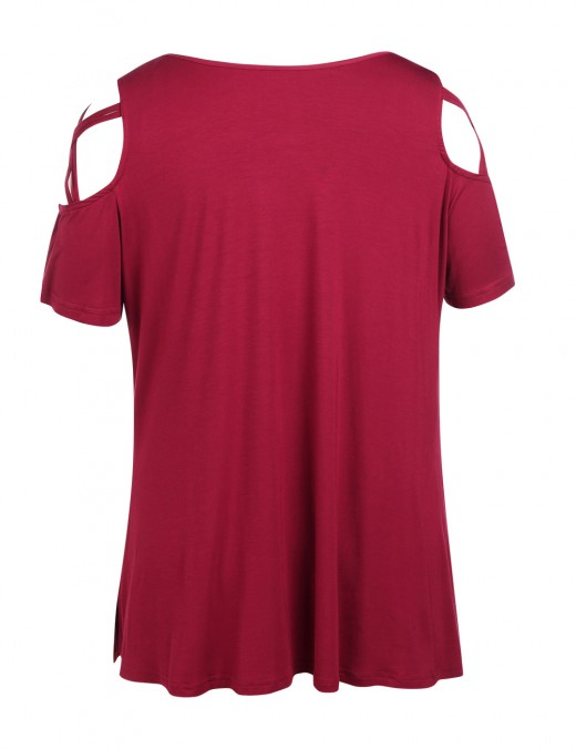 Stunning Wine Red Big Size Ruched T-Shirt Women's Fashion