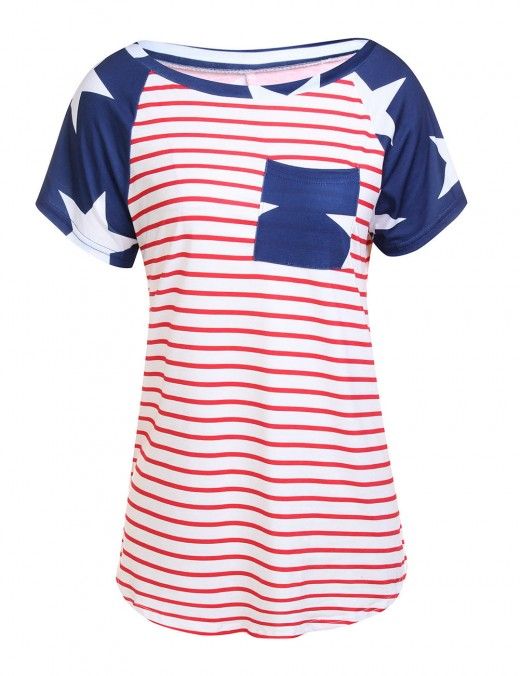Style Striped Colorblock Tees Short Sleeves Slim