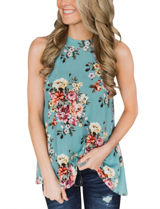 Fad Blue Floral Halter Tops No Sleeves For Holiday
