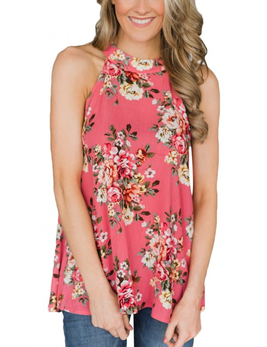 Red High Neck Tank Tops Floral Print Free Time