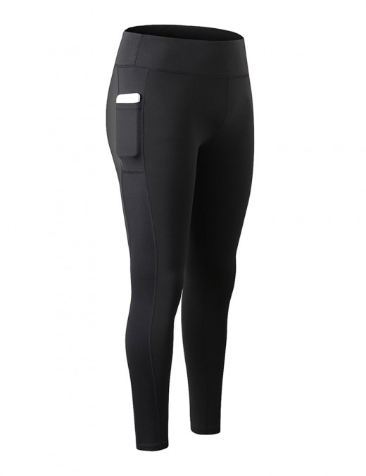 Black High Waist Yoga Leggings With Pocket For Work