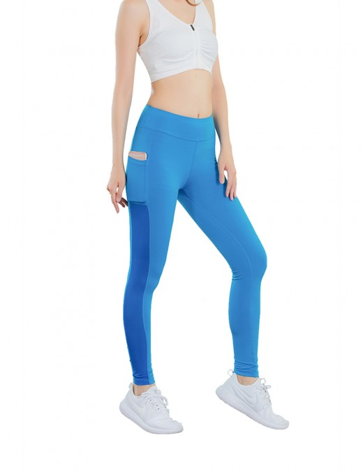 Vivid Blue Side Pocket Yoga Tights Patchwork Workout Clothes