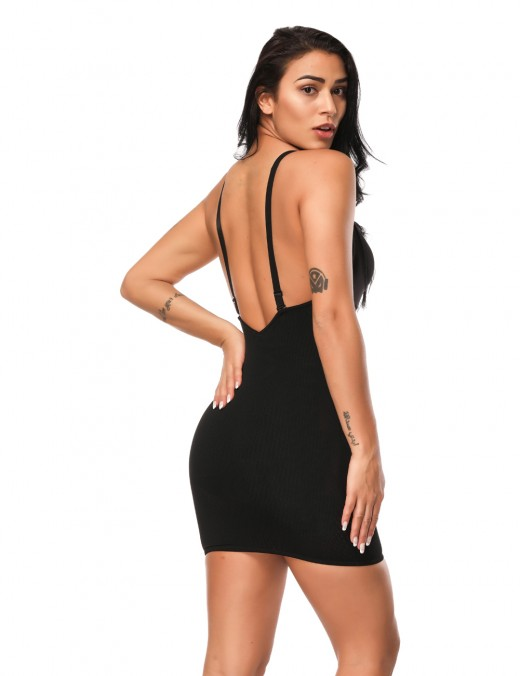 Durable Black V Neckline Stretch Slip Open Back Ultra Light