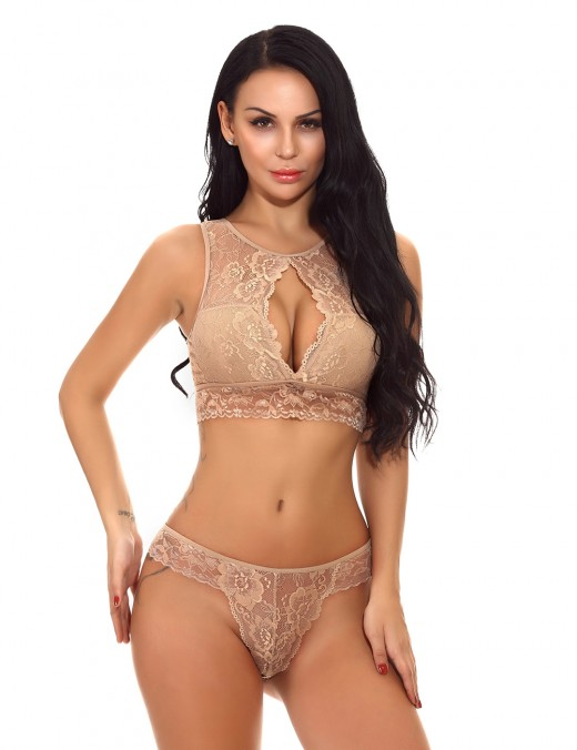 Sheer Brown Lace Floral Bralette Set Cut Out Online Affordable