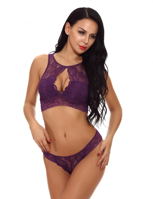 Cutie Purple Cut Out Bralette Set Flower Delightful Garment