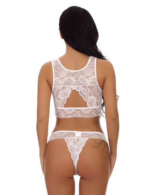 Eye-Catching White 2 Pcs Lace Trim Bralette Hollow Out Female