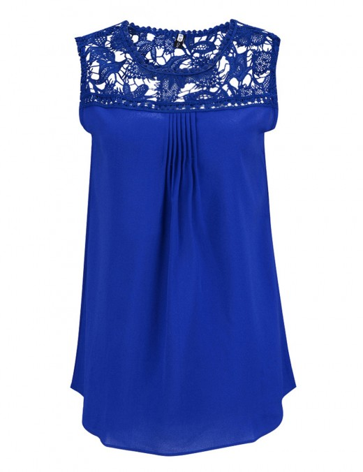 Entrancing Sapphire Blue Lace Tank Tops Queen Size Heartbreaker