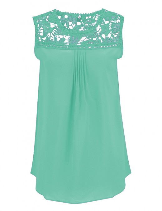 Extreme Light Green Hollow Out Lace Tank Top Plus Size Soft