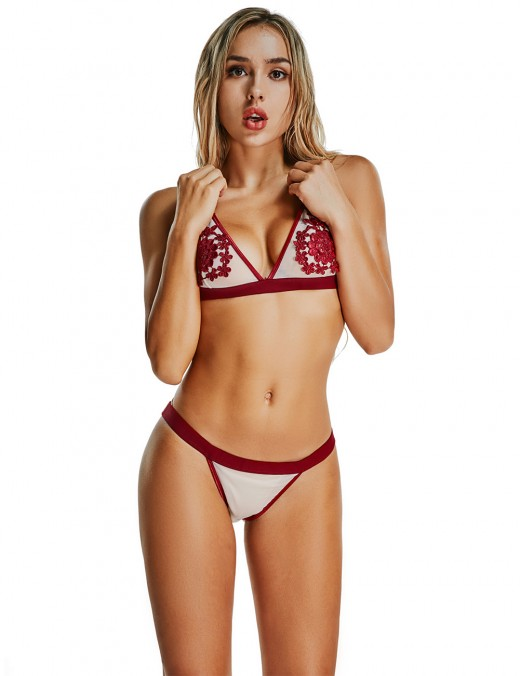 Enjoying Wine Red Flower Bra Set Without Underwire Allover Slim