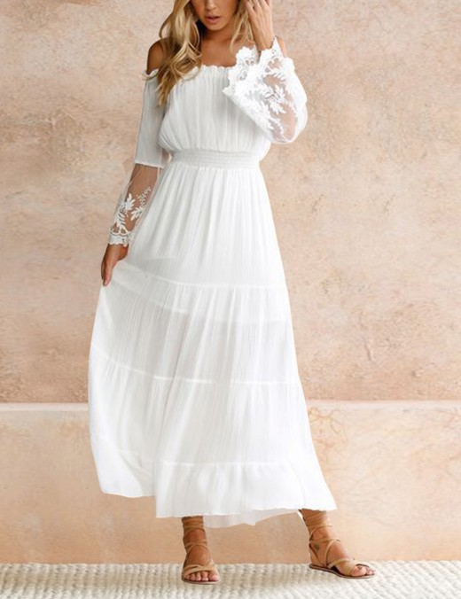 Off Shoulder Maxi White Dress Lace Flare Sleeves All Over Smooth