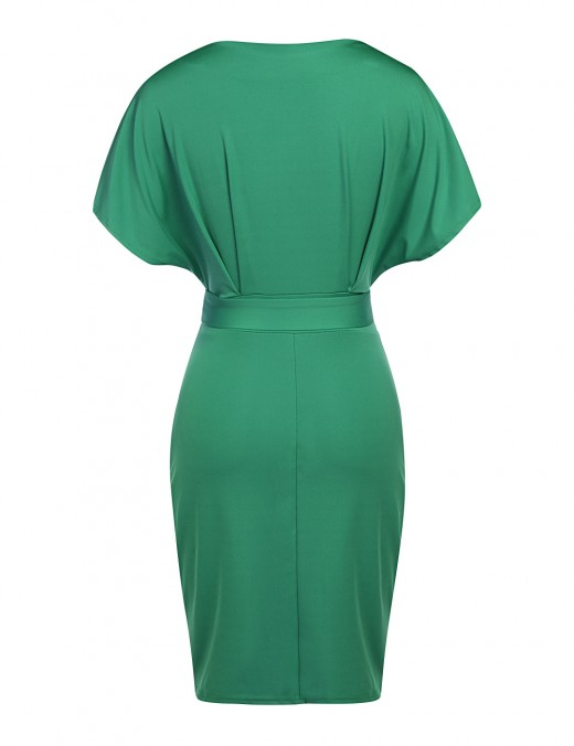 Relaxed Green Short Sleeved Tight Dress Round Neck For Streetshots
