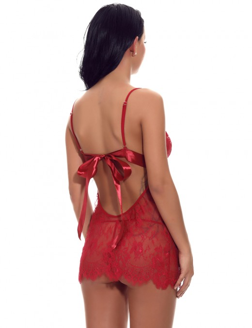 Wine Red Backless Intimate Babydoll Cut Out Ribbon Lace