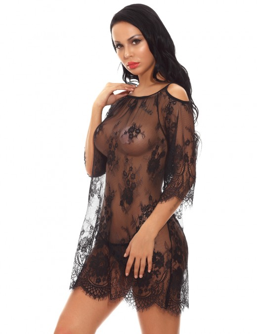 Flossy Black Cold Shoulder Babydoll Set Eyelash Lace
