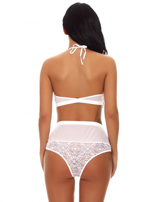 Ultra White Flower Knot Bralette Sets Lace Kingly Making