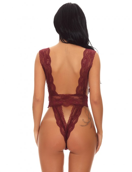 Flirting Wine Red Plunging Backless Teddy Flower Smooth Fabric